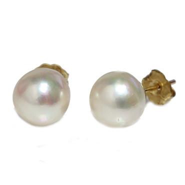 Akoya Pearl Baroque Stud Earrings 9 - 9.5MM