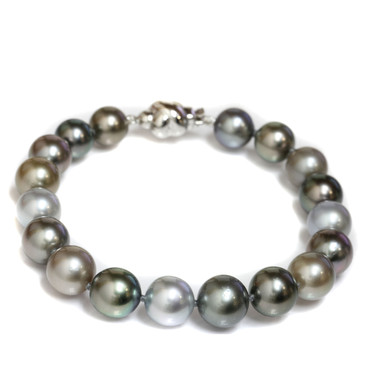 Tahitian South Sea Pearl Bracelet 10 - 8 MM AAA Multi Color