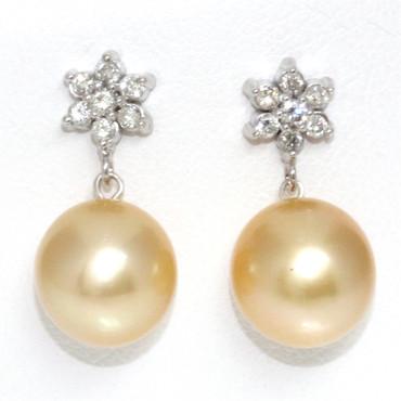 South Sea Pearl & Diamond Lily Earrings 11 MM AAA Flawless