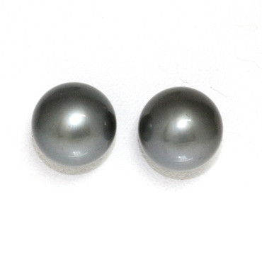 Tahitian Pearl Stud Earrings 14kt 12 MM  Dark Gray AAA