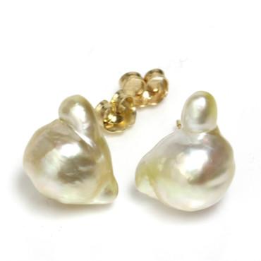 South Sea Baroque Pearl Stud Earrings 10 MM AAA Flawless