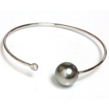 Diamond Tahitian Pearl Bangle Flex Bracelet 13 MM AAA 5
