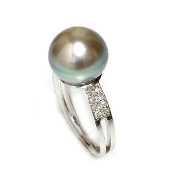 Tahitian Pearl & Diamond Sincere Ring 12  MM Blue Beige AAA