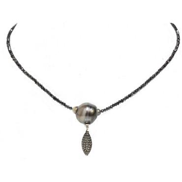 Tahitian Pearl & Black Diamonds Necklace 16 MM AAA