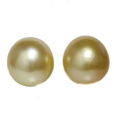 South Sea Pearl Stud Earrings  14 MM Light Golden AAA
