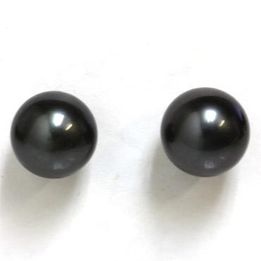 Tahitian Pearl Stud Earrings 9.5 MM  AAA Black