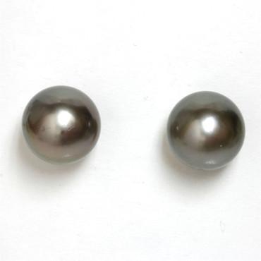 Tahitian Pearl Stud Earrings 10 MM Gray AAA Flawless 2