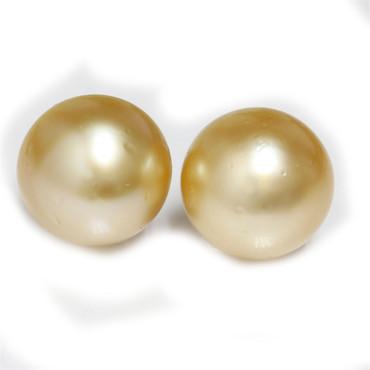 South Sea Pearl Stud Earrings 15 MM Golden AAA-