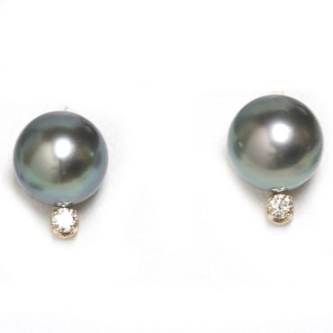 Tahitian Pearl Diamond Stud Earrings 9.5 MM Blue Green AAA Flawless
