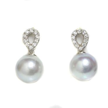 Akoya  Diamond Unify Earrings 9 MM  AAA Blue