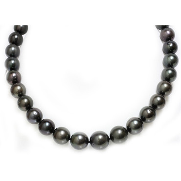 Tahitian Pearl Necklace 16 - 12 mm AAA- Black