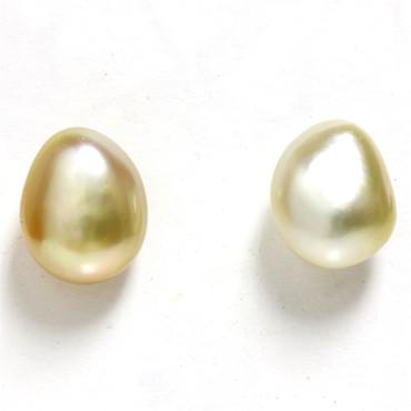 South Sea Keshi Baroque Pearl Stud Earrings 9.5 MM  AAA Flawless