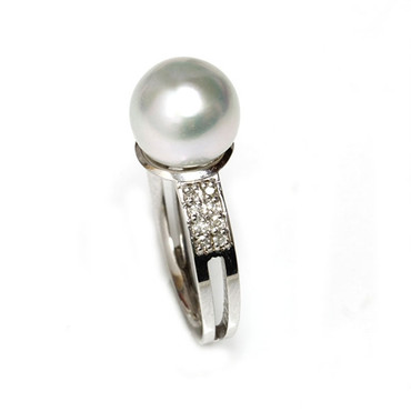 South Sea Pearl & Diamond Sincere Ring 9 - 10 MM White AAA Flawless 1