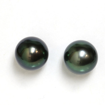 Tahitian Pearl Stud Earrings 9 MM Black  AAA Flawless