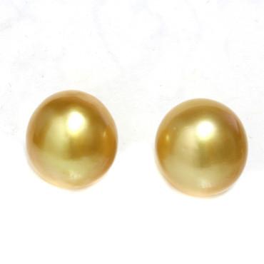 South Sea Pearl Stud Earrings 12 MM Deep Golden AAA Flawless
