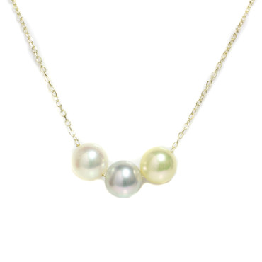 Akoya Trio Pearl Necklace 14k Rose, Yellow and White Gold