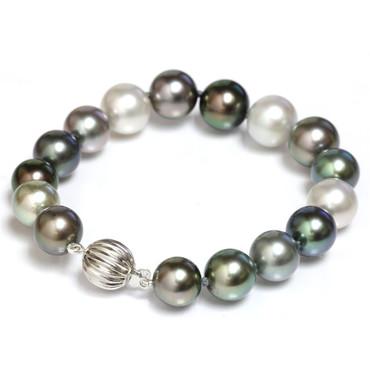 Tahitian Pearl Bracelet 11 - 10 MM AAA Flawless Multicolor