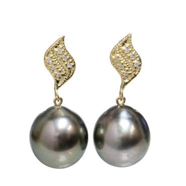 Tahitian Pearl Diamond Earrings  Petal Collection AAA To AAA Flawless