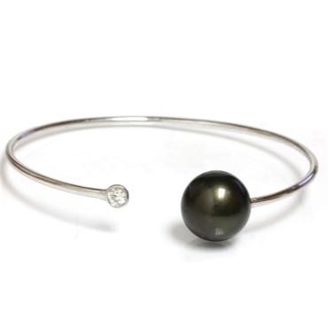 Diamond Tahitian Pearl Bangle Flex Bracelet 13 MM AAA 4