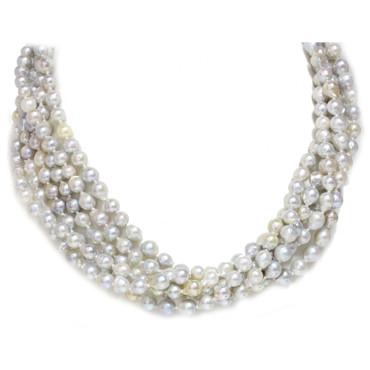 Akoya Pearl Multi Row Necklace  5.5 - 7 MM AAA-