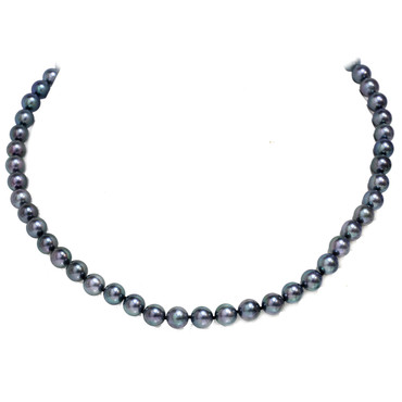 Akoya Pearl Necklace 7.5 - 8 MM AAA Black with Blue Green