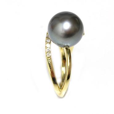Tahitian Pearl & Diamond Adore Ring 12 mm AAA Black / Dark Grey