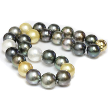 Tahitian & South Sea Pearl Necklace  15 - 14 mm