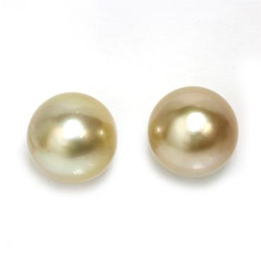 South Sea Pearl Stud Earrings 12 MM Golden AAA 2