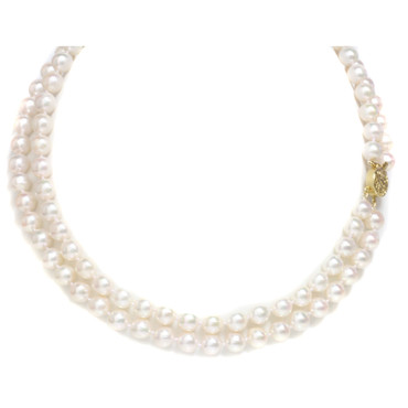 Akoya Double Strand  Pearl Necklace 7 - 7.5 MM AAA-