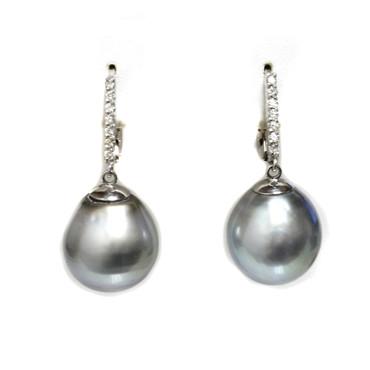 Tahitian Pearl & Diamond Twinkle Earrings 14 MM AAA