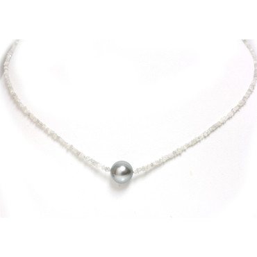 Tahitian Pearl Diamond Solitaire  Necklace 11 MM AAA