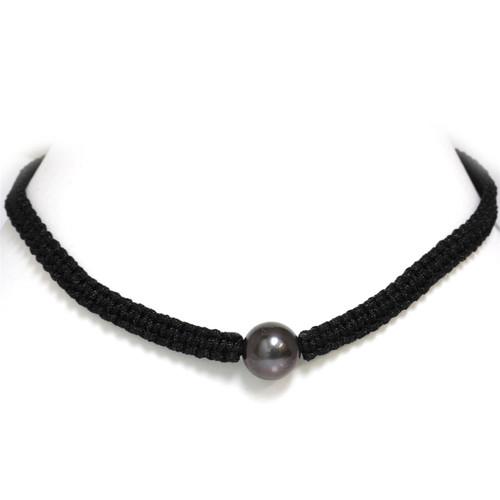 Tahitian Pearl Shamballa Macrame Necklace 14 MM AA Black