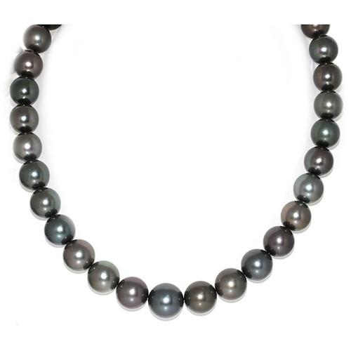 Tahitian Pearl Necklace  14 - 11 mm AAA Black