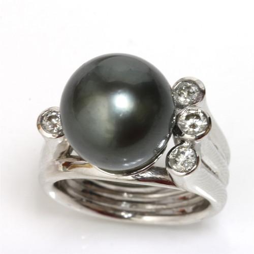 Tahitian Pearl & Diamond Truly Ring 12 mm AAA Flawless 2