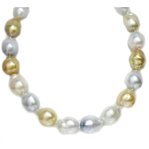 South Sea Baroque Pearl Necklace  18.5 - 16 MM Multicolor AAA