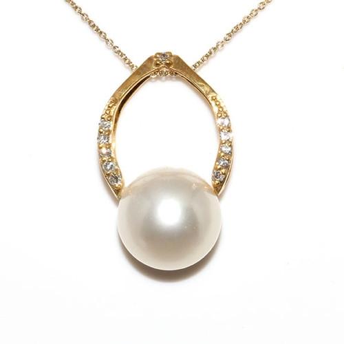 South Sea Pearl & Diamond Pendant 18kt 11 MM AAA