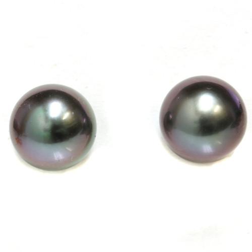Tahitian Pearl Stud Earrings 9 MM Black  Aubergine AAA FlawlessFlawless