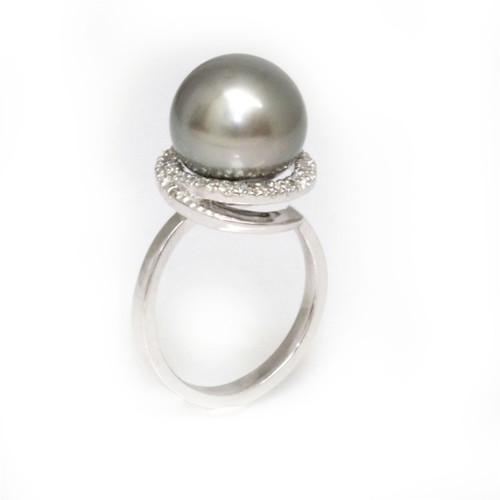 Tahitian Pearl & Diamond Halo Ring 11 - 12 MM AAA