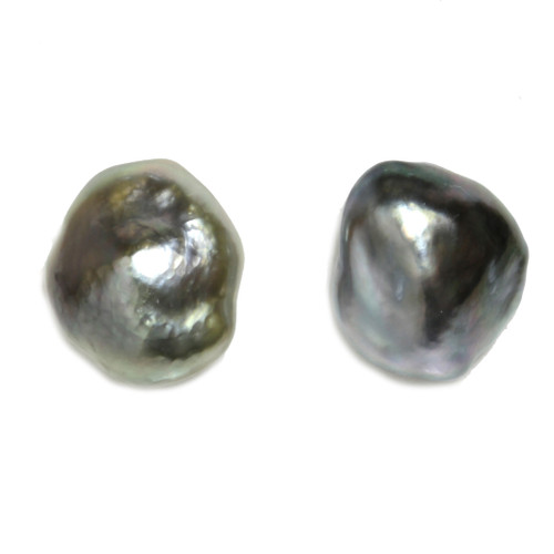 Tahitian Keshi Pearl Stud Earrings 12 mm Grey AAA Flawless