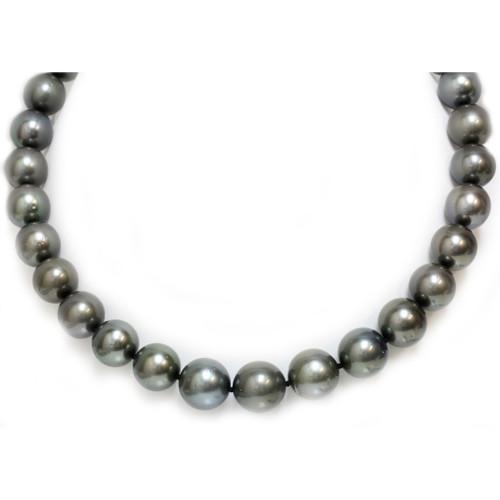 Tahitian Pearl necklace 15 - 13 MM AAA- Dark Grey / Black