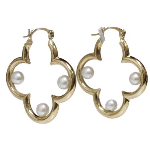 LV akoya pearl hoop earrings