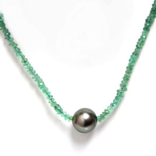 Tahitian Pearl Emerald  Solitaire Necklace 11MM AAA