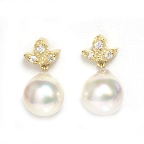 Akoya Pearl Diamond Maple Earrings 9 MM AAA
