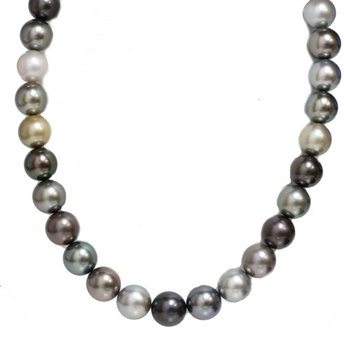 Tahitian Pearl Necklace  14 - 13 mm AAA Multicolor