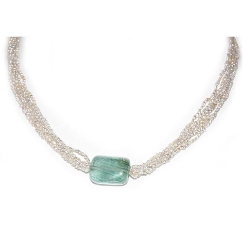 Akoya Keshi Pearl & Aquamarine Necklace AAA Flawless