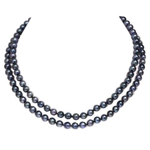 Akoya Pearl Opera Necklace 65 - 7  MM AAA  Black