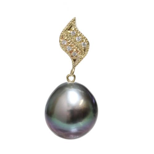 Tahitian Pearl Diamond Pendant Petal Collection AAA To AAA Flawless