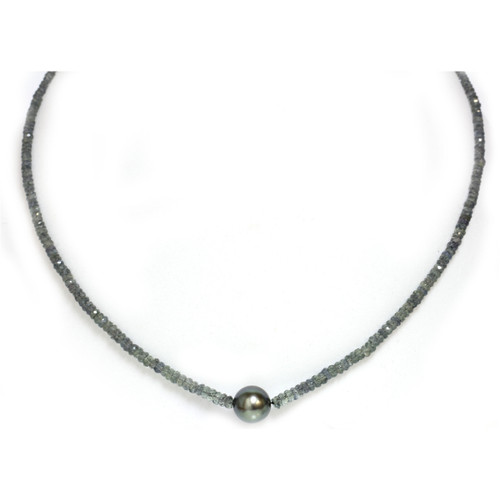 Tahitian Pearl Emerald  Solitaire Necklace 10 MM AAA