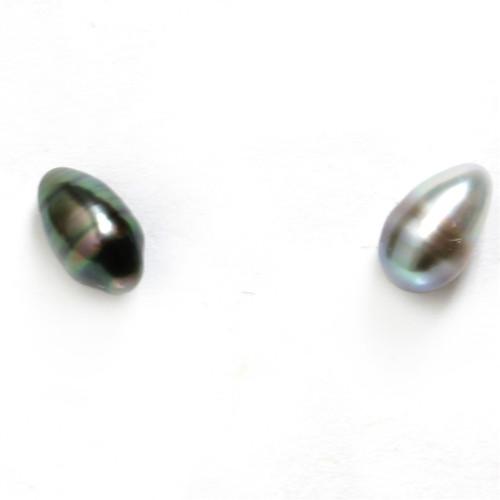 Tahitian Keshi Stud Baroque Pearl Earrings 6 - 6.5 mm Black AAA Flawless
