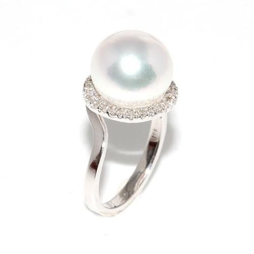 South Sea Pearl & Diamond Halo Ring 11 - 12 mm AAA